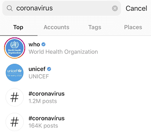 Instagram coronavirus measures