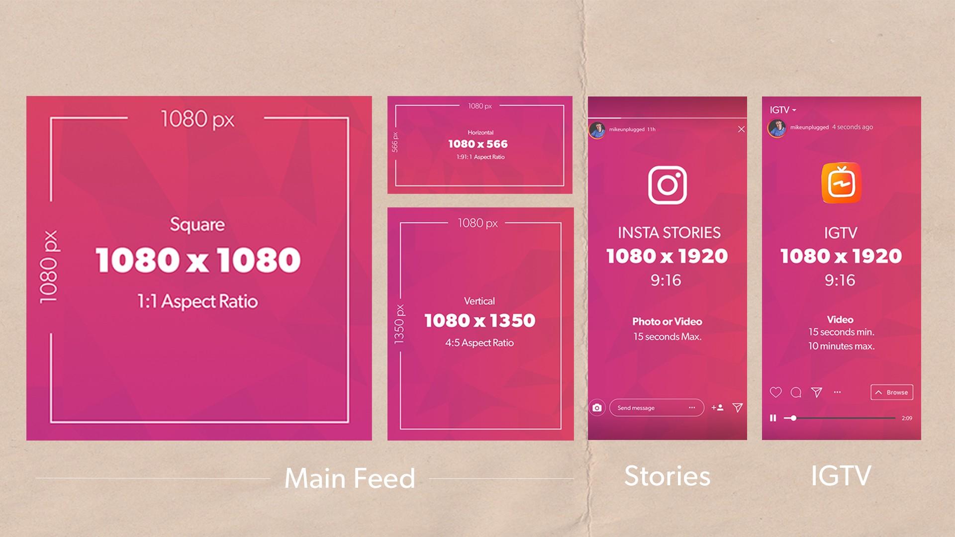 tamanho das postagens no Instagram
